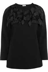 Issa Betty Bow Embellished Stretch Jersey Sweater Black