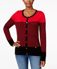 Karen Scott Colorblocked Striped Cardigan Only At Macy's New Red Amore Combo