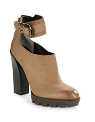 Kenneth Cole Otto Leather Platform Booties Clay