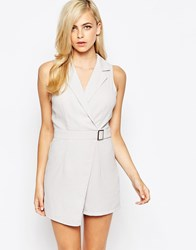 Ax Paris Belted Tailored Playsuit Grey