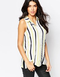 Parisian Sleeveless Shirt In Mixed Stripe Yellow
