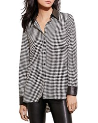 Ralph Lauren Faux Leather Trim Houndstooth Shirt Black Cream