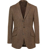 Cordings Brown Rish Herringbone Donegal Wool Tweed Blazer Brown