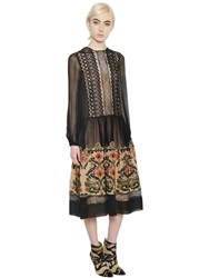 Alberta Ferretti Lace And Embroidered Chiffon Dress
