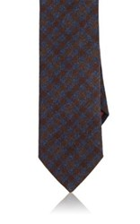 Luciano Barbera Men's Checked Woven Wool Cashmere Necktie Blue