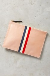 Anthropologie Clare V. Triple Stripe Pouch Pink One Size Clutches