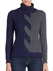 Milly Colorblock Cable Knit Merino Wool Turtleneck Sweater Navy Charchoal