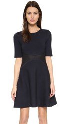 Lela Rose Lace Insert Dress Navy