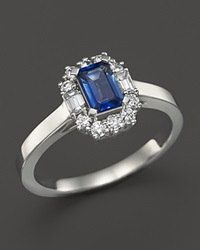 Bloomingdale's Sapphire And Diamond Ring In 14K White Gold White Blue