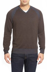 Robert Graham 'Regan' Wool V Neck Sweater Brown