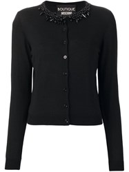 Boutique Moschino Embellished Collar Cardigan Black