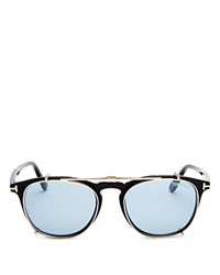 Tom Ford Optical Wayfarer Readers With Clip On Sunglasses 50Mm Shiny Rose Gold Blue Lenses