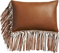 Cb2 Leather Fringe Saddle 18 X12 Pillow With Feather Down Insert