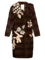 Valentino Japanese Floral Intarsia Mink Coat Brown Multi