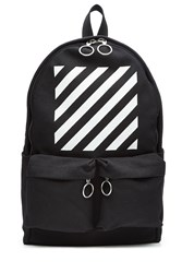 Off White Printed Cotton Backpack Black