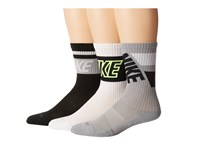 Nike Dri Fit Crew Sock 3 Pair Pack Black Grey White White Volt Grey White Black Crew Cut Socks Shoes Multi
