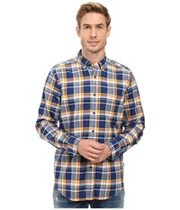 Nautica Long Sleeve Large Plaid Pocket Shirt Marine Blue Men's Long Sleeve Button Up