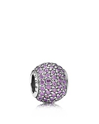 Pandora Design Pandora Charm Sterling Silver And Purple Cubic Zirconia Pave Lights Moments Collection Silver Purple