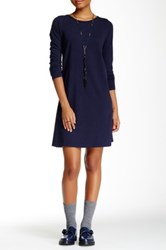 American Apparel Power Wash Long Sleeve Tunic Dress Blue