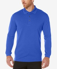Pga Tour Men's Textured Long Sleeve Performance Polo Surf The Web