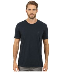 John Varvatos Short Sleeve Peace Crew Knit With Vertical Pickstitch Peace Sign Embroidery K2081r2b Night Sky Men's Short Sleeve Knit Blue
