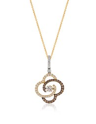 Levian 0.47Tcw Diamonds 14K White Gold And Yellow Gold Chocolatier Pendant Necklace Two Tone