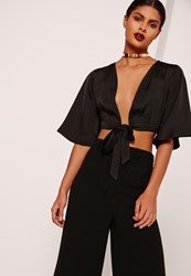 Missguided Kimono Sleeve Satin Tie Front Crop Top Black Black