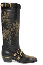 Chloe Susanna Studded Leather Knee Boots Black
