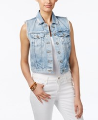 Big Star Cropped Denim Vest Distressed Hampton