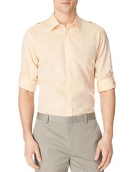Calvin Klein Link Stripe Chambray Dobby Shirt Light Canteloupe Orange