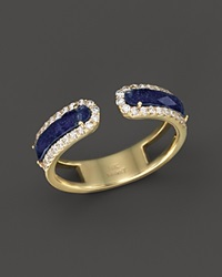 Meira T 14K Yellow Gold Lapis Band Ring With Diamonds Gold Blue