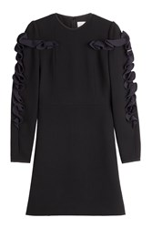 Victoria Victoria Beckham Wool And Crepe Ruffle Sleeve Dress Black