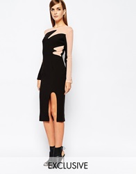 8Th Sign The 8Th Mesh Insert Contrast Midi Dress With Deep Thigh Split Black