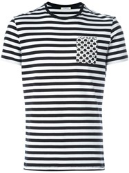 Iceberg Patch Pocket Striped T Shirt Black