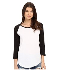 Hurley Staple Perfect Raglan White Black Women's T Shirt