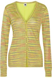M Missoni Crochet Knit And Silk Crepe Cardigan Lime Green