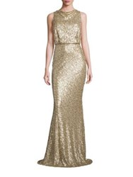 Badgley Mischka Sequin Blouson Gown Champagne