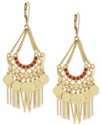 Bcbgeneration Gold Tone Bead And Fringe Chandelier Earrings