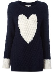 Chinti And Parker Heart Detail Aran Sweater Blue