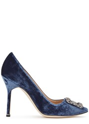 Manolo Blahnik Hangisi 105 Dark Blue Velvet Pumps