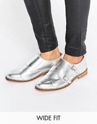 Asos Michaela Wide Fit Leather Flat Shoes Silver