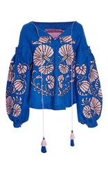 Yuliya Magdych Flower Shells Linen Princess Blouse Blue