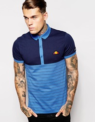 Ellesse Re Issue Striped Polo Shirt Navy