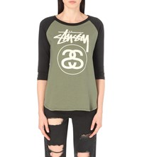 Stussy Stock Link Cotton Jersey Raglan Top Olive