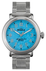 Shinola 'The Runwell' Leather Bracelet Watch 38Mm Silver Turquoise