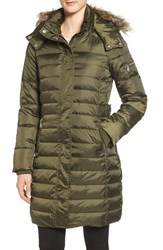 Sam Edelman Women's Faux Fur Trim Down And Feather Fill Puffer Coat Olive