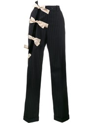 Jacquemus Bow Detail Deconstructed Trousers Blue
