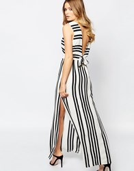 Goldie Over Exposed Open Back Maxi Dress In Allover Stripe Mono Stripe