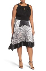 Sangria Plus Size Women's Pleat Keyhole Bodice Scarf Print Dress