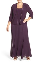 Alex Evenings Plus Size Women's Mock Two Piece Dress With Matching Jacket Eggplant